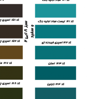 کد ۱۵۸ تا ۱۶۶، رنگ سبز، سفید و ابی